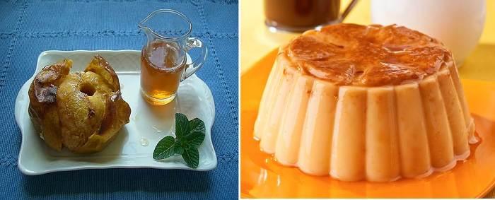 스페인 특제 디저트 만사나 아사다 왼쪽은 구운 사과, 오른쪽은 배고플 때 먹기 좋은 쁠란(푸딩)